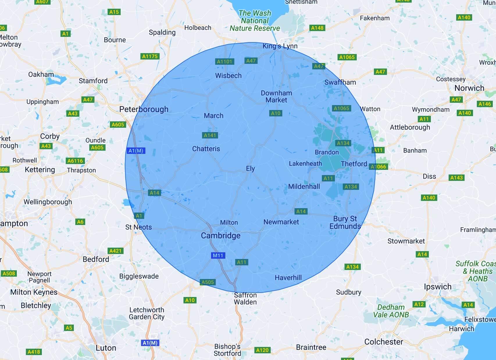 Areas Covered Map Radius